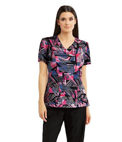Barco One Digital Dreams V-Neck Print Scrub Top