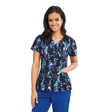 Barco One Dream Scape Print Scrub Top