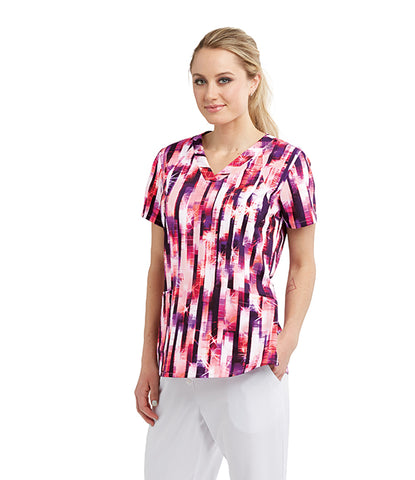 Barco One Mirrored Stripe Print Scrub Top