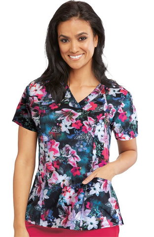 Barco One Women's Tropical Rainforest Print Scrub Top