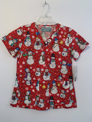 Med Couture Snowman Holiday V-Neck Print Scrub Top