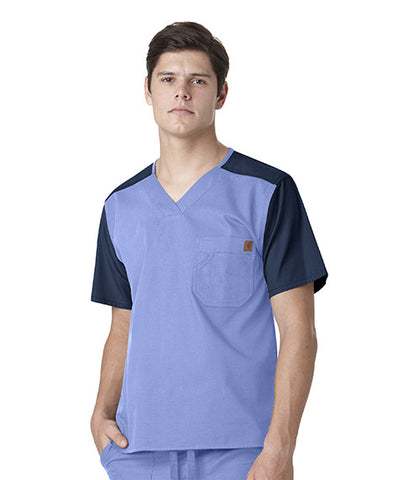 Men's Color Block Utility Solid Scrub Top