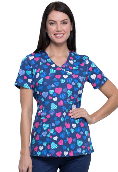 Cherokee Women's With All My Heart Print Scrub Top