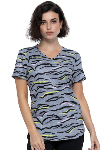 Women's Zebra Pop Print Scrub Top by Cherokee