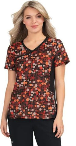 koi Lite™ Raquel Mock Wrap Color Splash Print Scrub Top