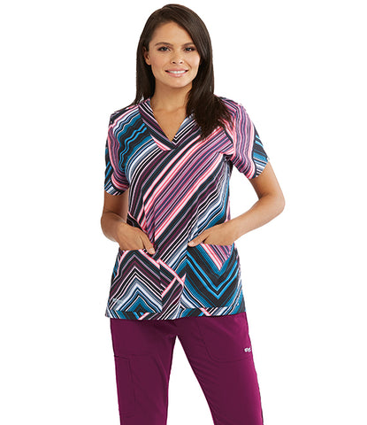 Women's Moonlit Stripe Print Scrub Top