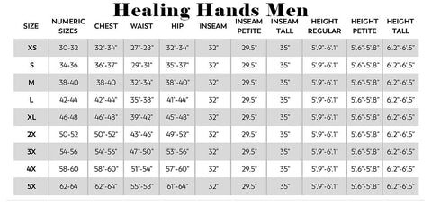 Healing Hands Sizing Guides