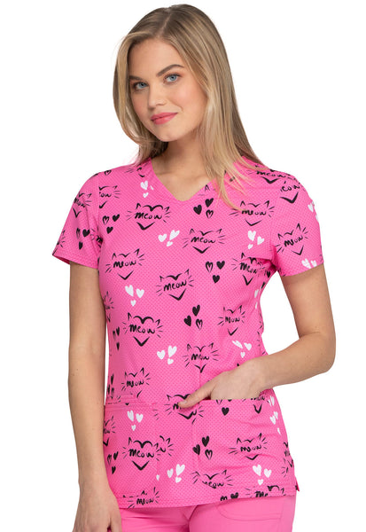 heartsoul Meow or Never Pink Party V-Neck Print Scrub Top