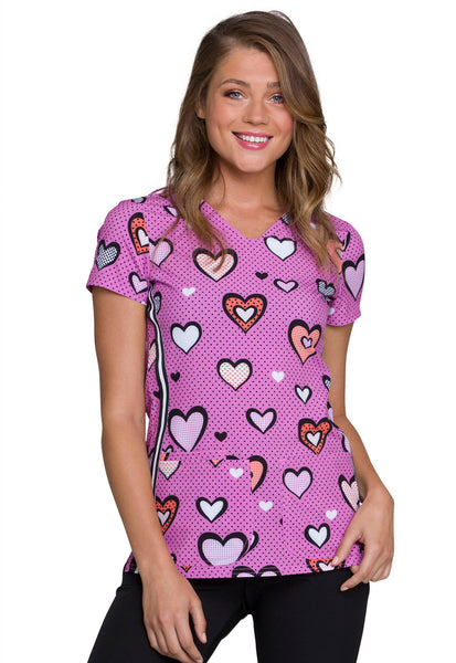 HeartSoul Fill Up My Heart Print Scrub Top