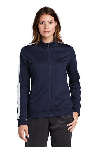 Ladies Tricot Track Jacket in Navy