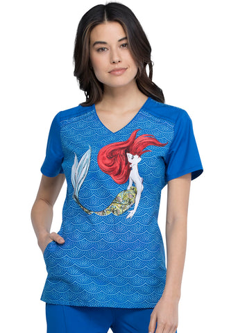 Cherokee Tooniforms Mermaid Life V-Neck Print Top