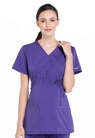 Cherokee Professional Maternity Mock Wrap Top - AA Dietitian