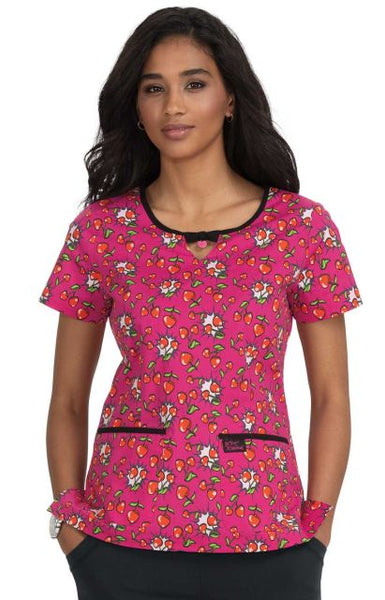 Women's Rose Cherry Heart Pow Print Scrub Top