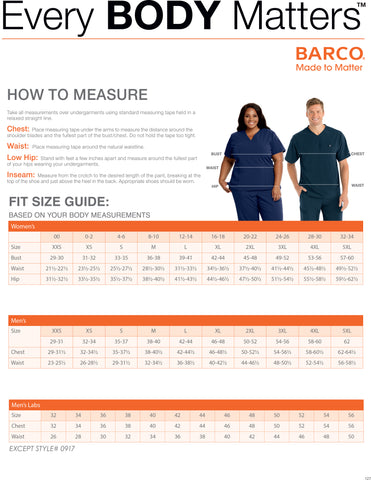 Barco / Grey's Anatomy / Skechers Sizing Guide