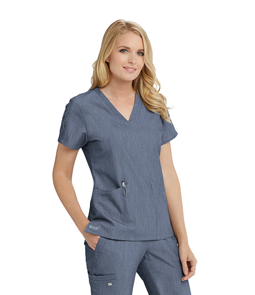 Grey's Anatomy™ Signature Three Pocket V-Neck Laced Sleeve Scrub Top