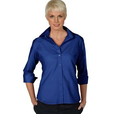 Ladies 3/4  Sleeve Button Down Shirt