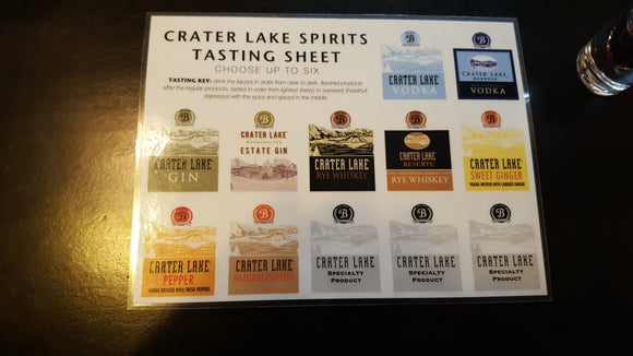 Crater Lake Spirits Tasting Sheet