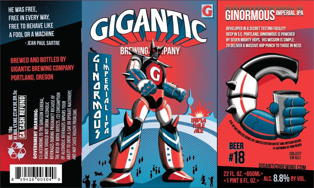 Beer label for Gigantic Brewing's Ginormous Imperial IPA
