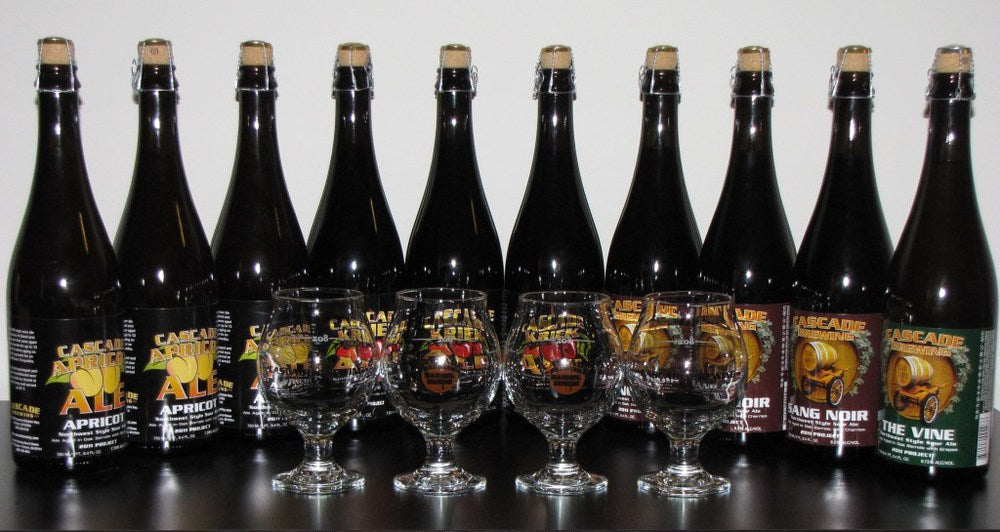 An array of Cascade Apricot Ale bottles ready for tasting
