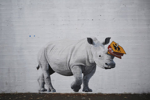 Portland artist Josh Keyes's rhino mural on SE Morrison for 2015's Forest For the Trees Festival