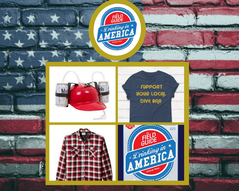 The Field Guide to Drinking in America costume idea including shirt, beer hat, and flannel