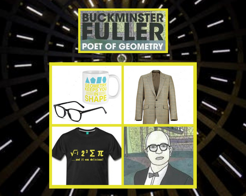 Buckminster Fuller: Poet of Geometry costume idea including shirt, glasses, jacket, and mug