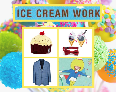 Ice Cream Work Costume idea with beanie, suit jacket, sunglasses and bowtie