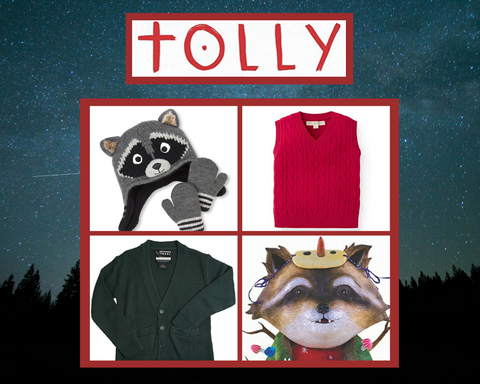 Costume pieces including a raccoon hat and gloves, a red sweater vest, and a green long sleeve sweater