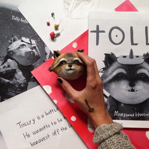 Images and sculpted head for the Tolly book by Overcup Press; author and artist Maryanna Hoggatt
