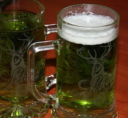 A mug of beer dyed green for St. Patrick's Day