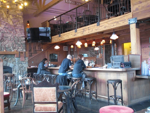 Interior, looking at bar of Old Town Pizza and Brewing