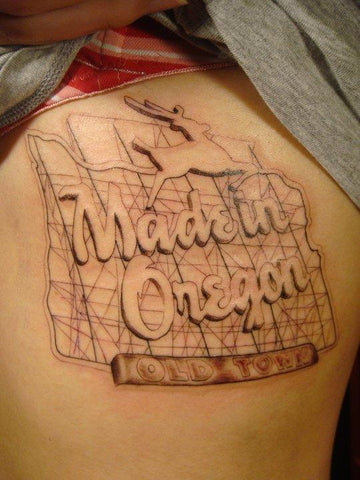 Portland tattoo artist Ren Sakurai's Made in Oregon sign tattoo