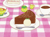 Ice Cream Work picture book internal page Monday with chocolate cake, ice cream, and coffee