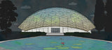 A drawing of the geodesic dome home by Cole Gerst as seen in Buckminster Fuller Poet of Geometry