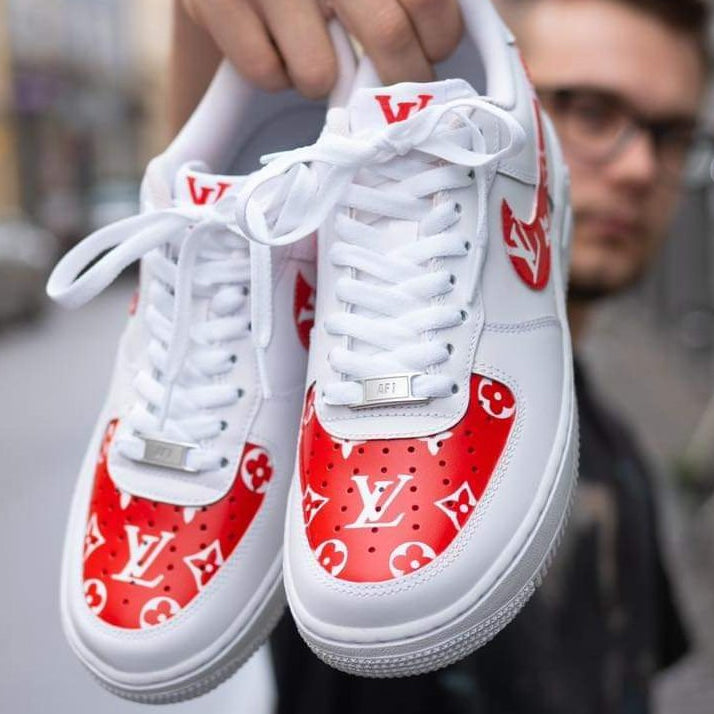 LV Red Monogram x Nike Air Force 1