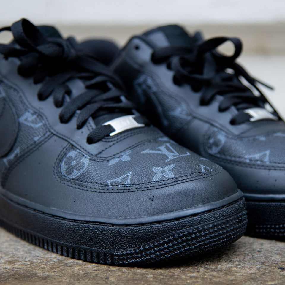 Stitched LV Tripple Black Monogram x Nike Air Force 1