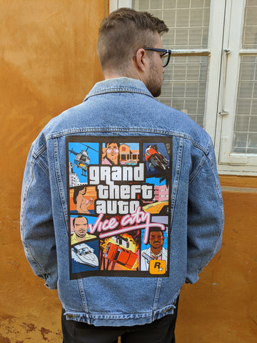 "Custom printed ""GTA Vice city"" Denim jacket"