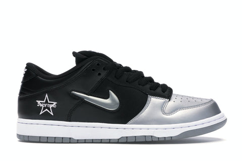 "Nike SB Dunk Low Supreme ""Jewel Swoosh Silver"""