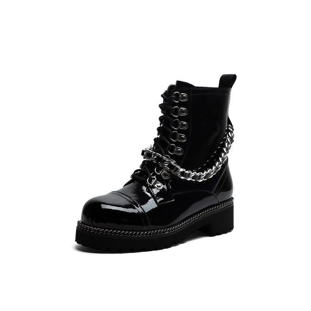Patent Leather Punk Boots