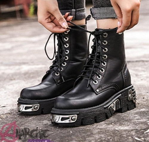 Metallic Punk Ankle Boots