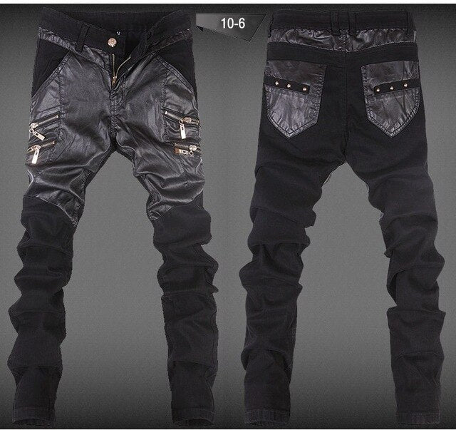 Skull Design Leather Pants