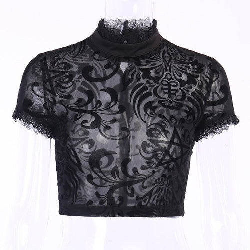 Gothic Lace Mesh Top