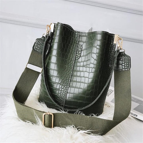 Faux Crocodile Skin Shoulder Bag