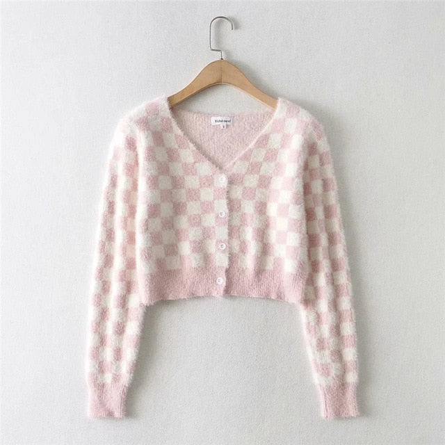 Checked Knitted Cropped Cardigan