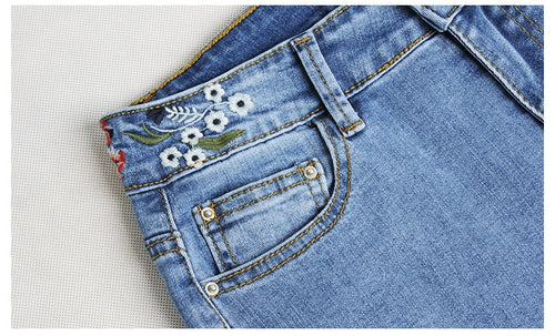 Embroidered Stretch Flared Jeans