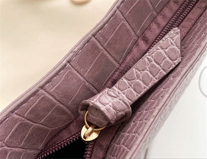 Alligator Skin Design Shoulder Bag