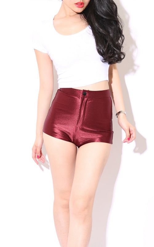 High Waist Shiny Stretch Shorts