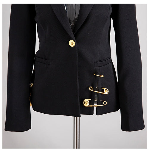 Black Pin Spliced Jacket