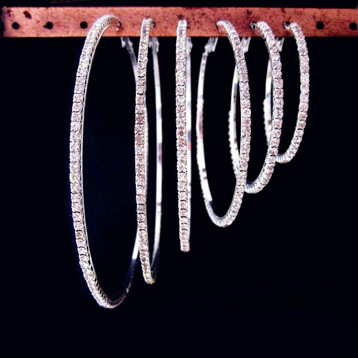 Rhinestone Small to Big Hoop Earrings