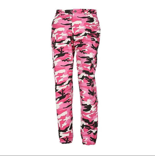 High Waist Denim Camouflage Pants